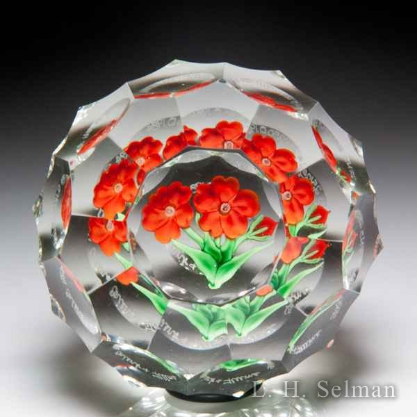 Orient & Flume 1984 orange California poppies flower bouquet faceted glass paperweight, by Greg Held. by  Orient & Flume