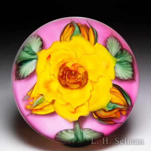 Lundberg Studios 2015 'Golden Rose with Buds' compound glass paperweight, by Daniel Salazar. by  Lundberg Studios