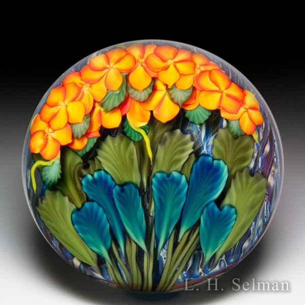 Lundberg Studios 2015 'Pele's Fury' tropical flowers compound glass paperweight, by Daniel Salazar. by  Lundberg Studios