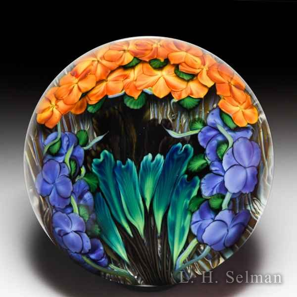 Lundberg Studios 2007 'Pele's Fury' tropical flowers compound paperweight, by Daniel Salazar. by  Lundberg Studios
