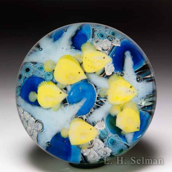 Lundberg Studios 2008 'Lau I'Pala' yellow tang fish compound glass paperweight, by Daniel Salazar. by  Lundberg Studios