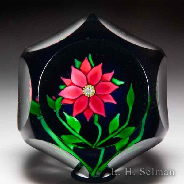 Saint Louis 1970 red clematis and bud faceted paperweight. by  Saint Louis Moderns