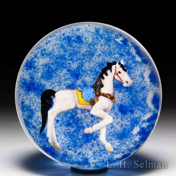 Jim D'Onofrio 2006 'Carousel Horse' compound glass paperweight. by Jim D'Onofrio