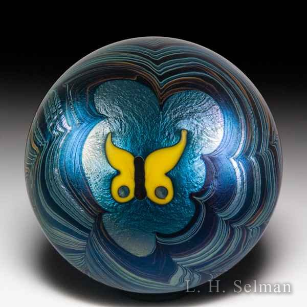 Lundberg Studios 1974 yellow butterfly pulled-feather surface design paperweight, by Daniel Salazar. by  Lundberg Studios