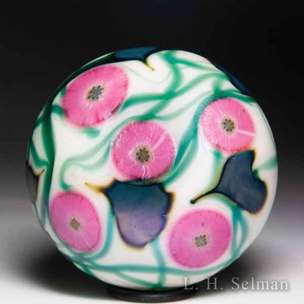 David Lotton 1977 'Multi Flora' pink flowers on vines surface design glass paperweight. by David Lotton