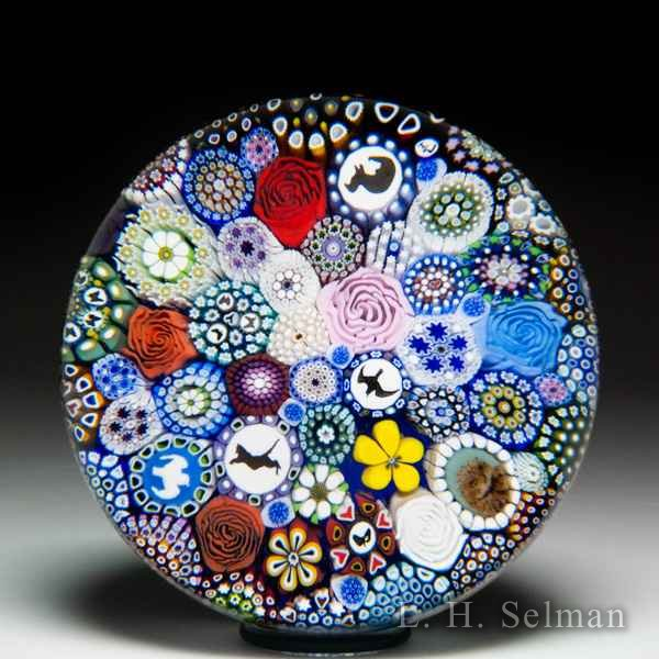 Mike Hunter 2019 close packed millefiori, animal silhouettes, owl murrina and flower canes glass paperweight. by Twists Glass Studio