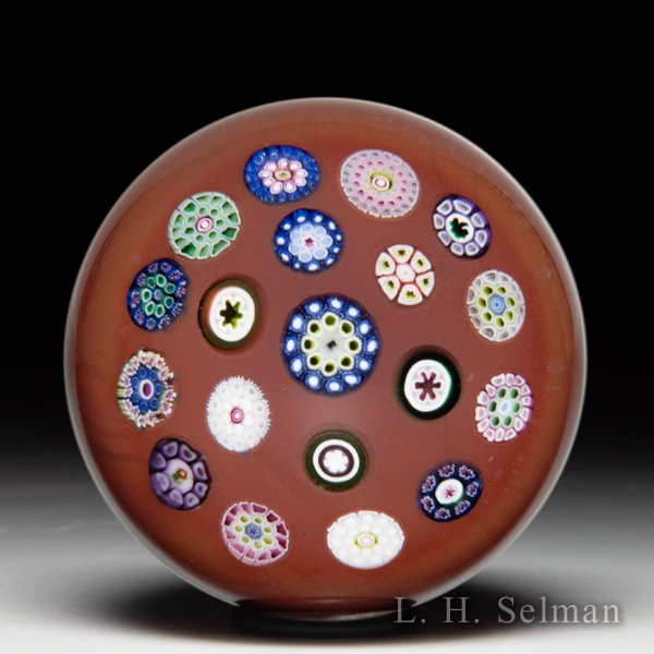 Drew Ebelhare 1999 spaced concentric millefiori paperweight. by Drew Ebelhare