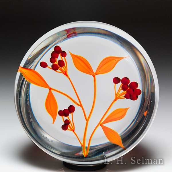 Paul Stankard 1976 Experimental red chokeberries and orange leaves glass paperweight. by Paul Stankard