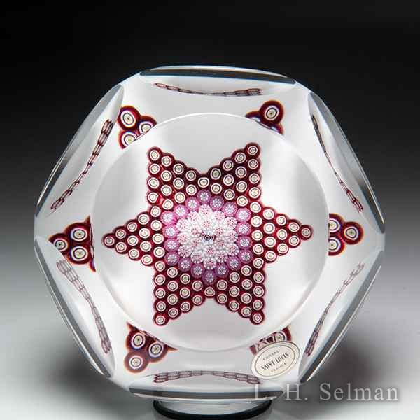 Saint Louis 1971 'Star of David' millefiori faceted glass paperweight. by Modern Saint Louis