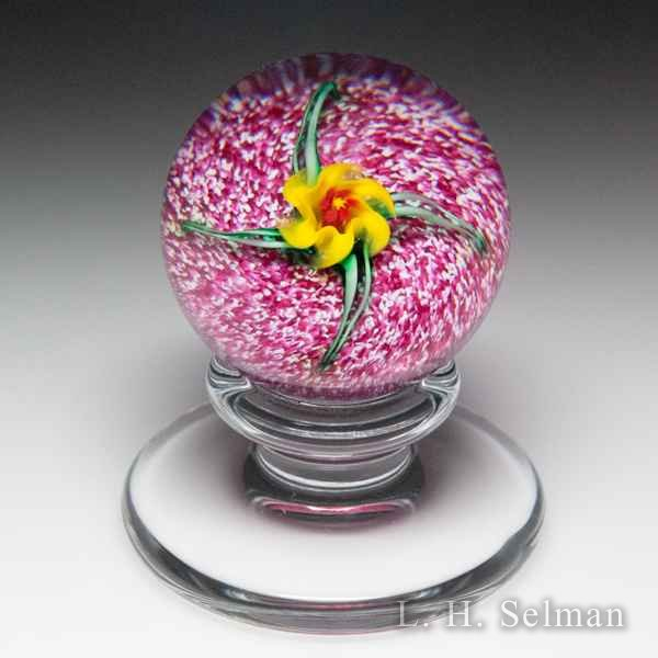 Charles Kaziun Junior spider lily miniature pedestal glass paperweight. by Charles Kaziun Junior
