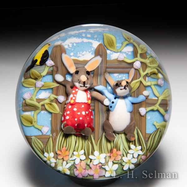 Clinton Smith 2019 'Peter Rabbit and his Mother' paperweight. by Clinton Smith