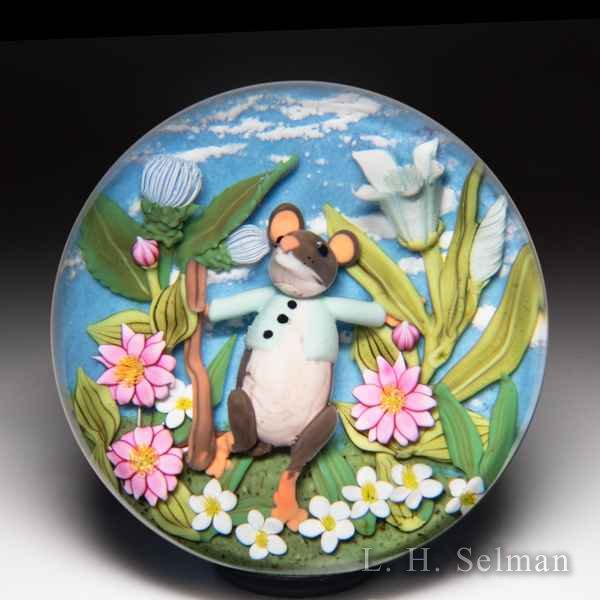 Clinton Smith 2019 'Field Mouse with Jacket' paperweight. by Clinton Smith