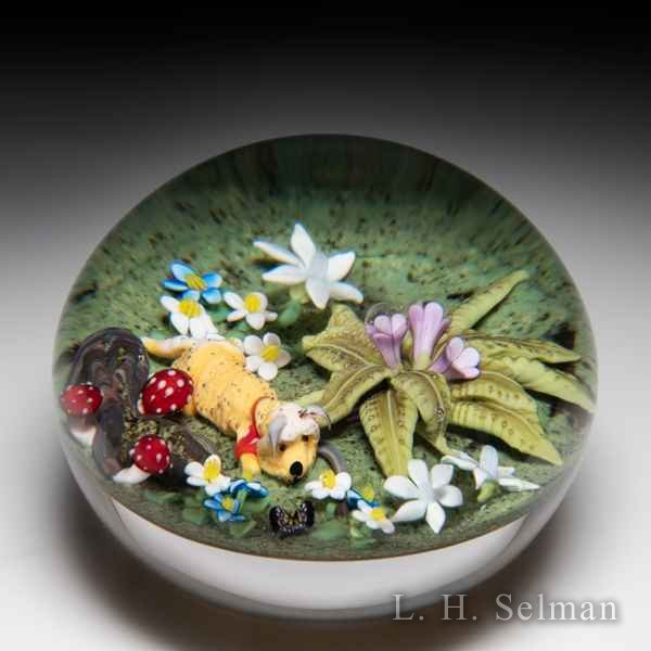 Clinton Smith 2019 'Dog in Garden' paperweight. by Clinton Smith