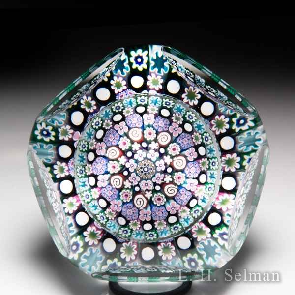 Damon MacNaught 2017 close concentric millefiori faceted paperweight. by Damon MacNaught