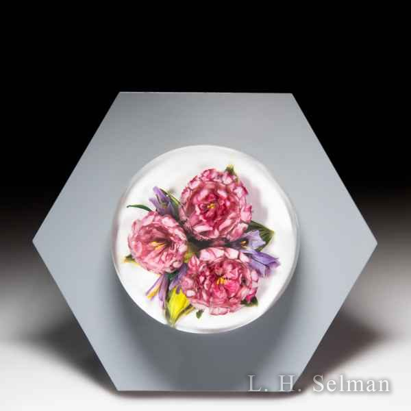 Melissa Ayotte 2019 pink camellia glass paperweight wall mount, from the Hive series. by Melissa Ayotte