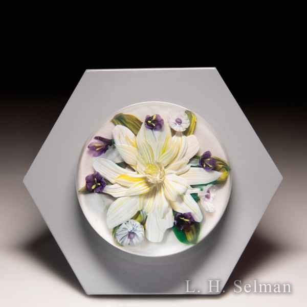 Melissa Ayotte 2019 yellow and white flower glass paperweight wall mount, from the Hive series. by Melissa Ayotte