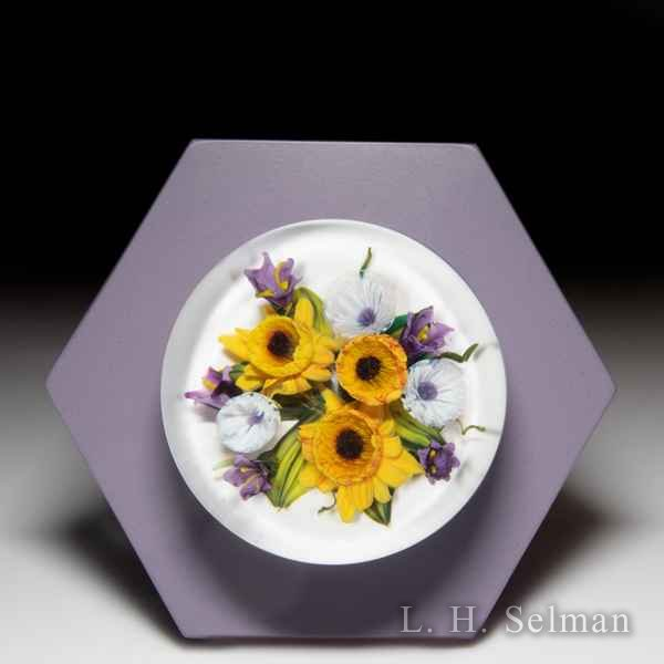Melissa Ayotte 2019 sunflowers glass paperweight wall mount, from the Hive series. by Melissa Ayotte