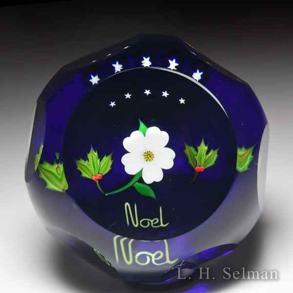 "Perthshire Paperweights 1987 Christmas 'Noel"" faceted paperweight. by Perthshire Paperweights"