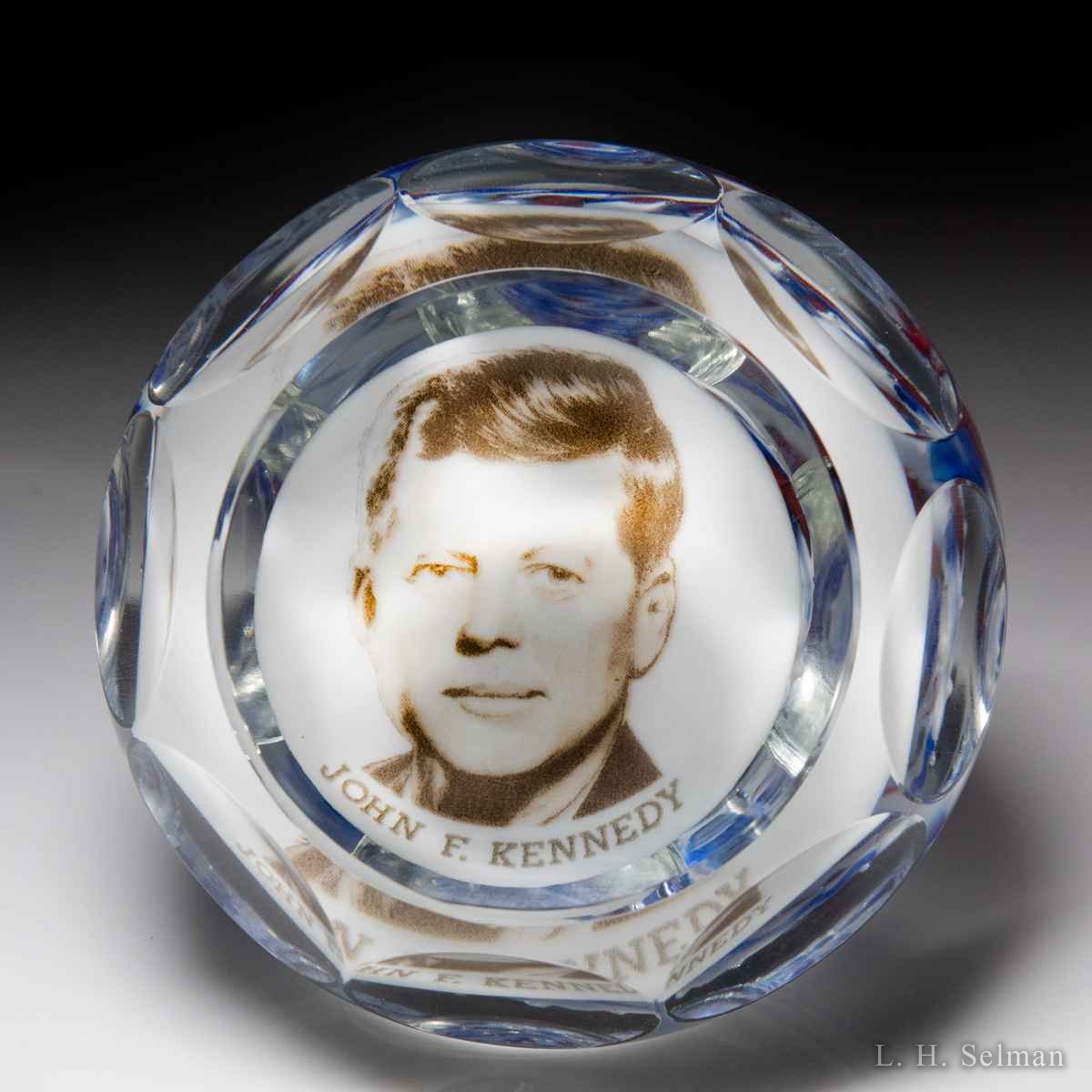 Gentile Glass 1963 John F. Kennedy faceted glass glass paperweight by  Misc Modern