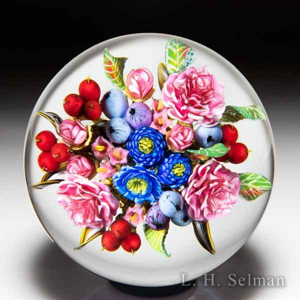 David Graeber 2019 rose, blueberry, cranberry and blue flower bouquet glass paperweight. by David Graeber