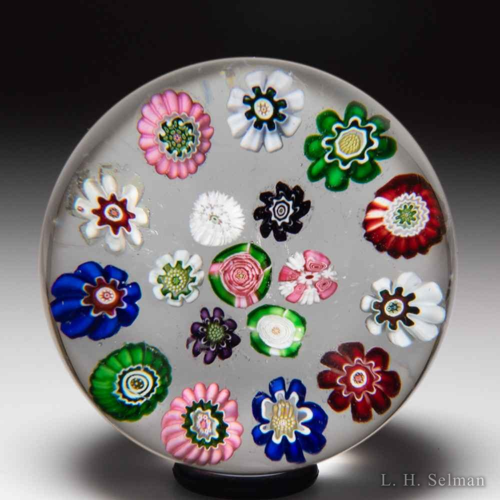 Antique Clichy spaced concentric millefiori miniature glass paperweight. by  Clichy