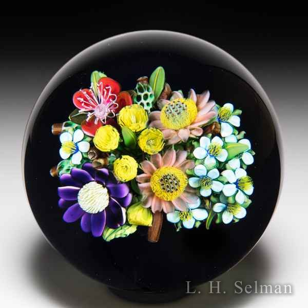 Ken Rosenfeld 2019 mixed flower bouquet on black ground glass paperweight. by Ken Rosenfeld
