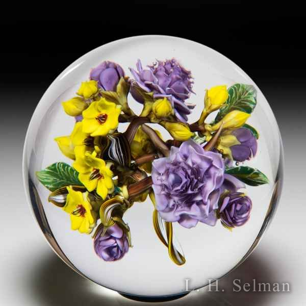 David Graeber 2020 all-over purple rose and yellow forget-me-not flower bouquet orb. by David Graeber