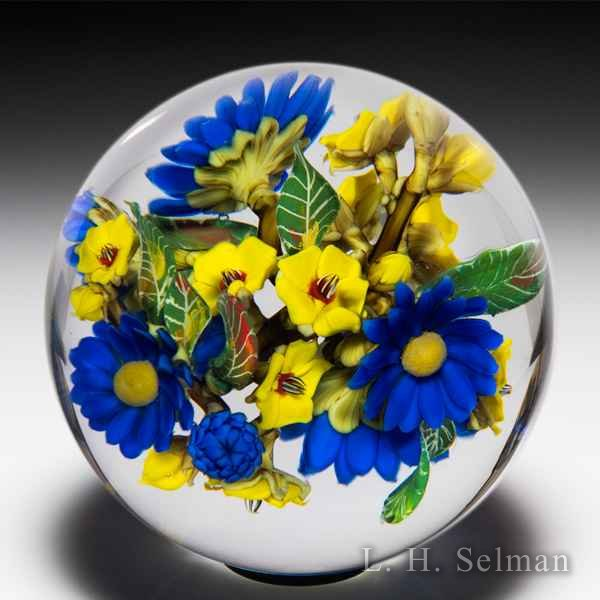 David Graeber 2020 all-over royal daisy and yellow forget-me-not flower bouquet orb. by David Graeber