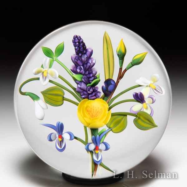 Chris Buzzini (1992) China rose, violet and lilac bouquet glass paperweight. by Chris Buzzini