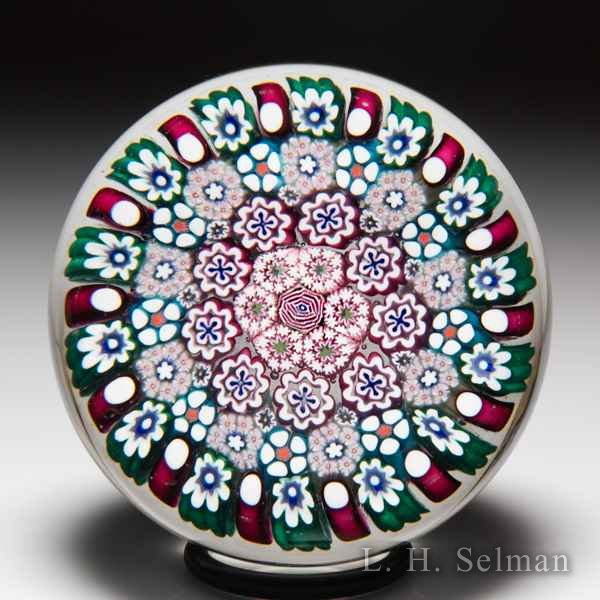 Damon MacNaught 2019 close concentric millefiori and rose paperweight. by Damon MacNaught