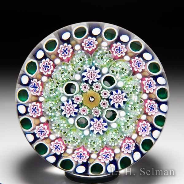 Damon MacNaught 2020 close concentric millefiori and turkey silhouette paperweight. by Damon MacNaught