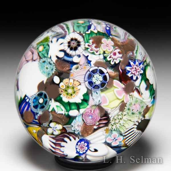 Damon MacNaught 2019 end-of-day scrambled millefiori and rose paperweight. by Damon MacNaught