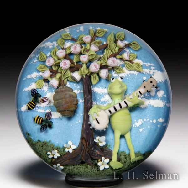 Clinton Smith 2020 Kermit the Frog with banjo, bees and tree paperweight. by Clinton Smith