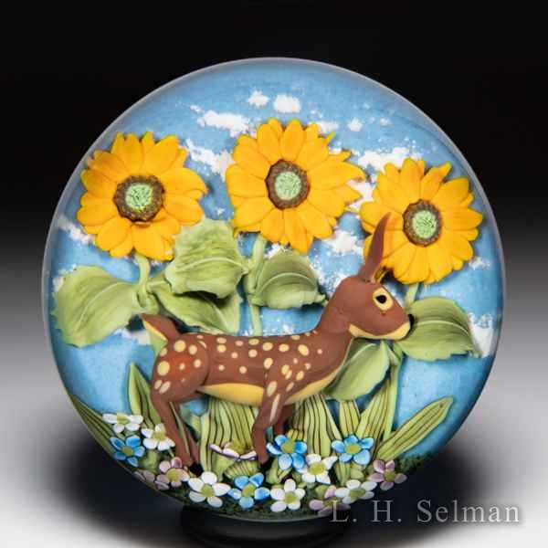 Clinton Smith 2020 deer and sunflowers glass paperweight. by Clinton Smith