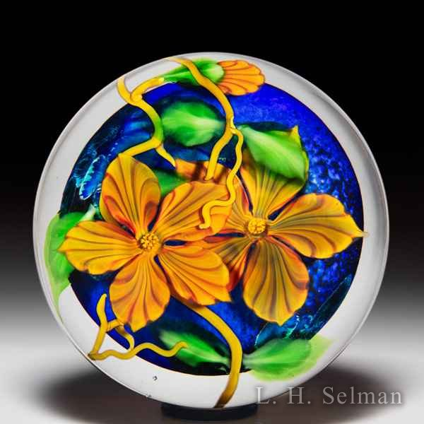 Mayauel Ward 2020 orange flowers compound magnum glass paperweight. by Mayauel Ward
