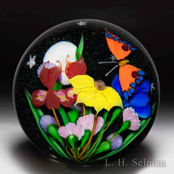 Mayauel Ward 2020 flower bouquet and butterfly night sky compound magnum glass paperweight. by Mayauel Ward