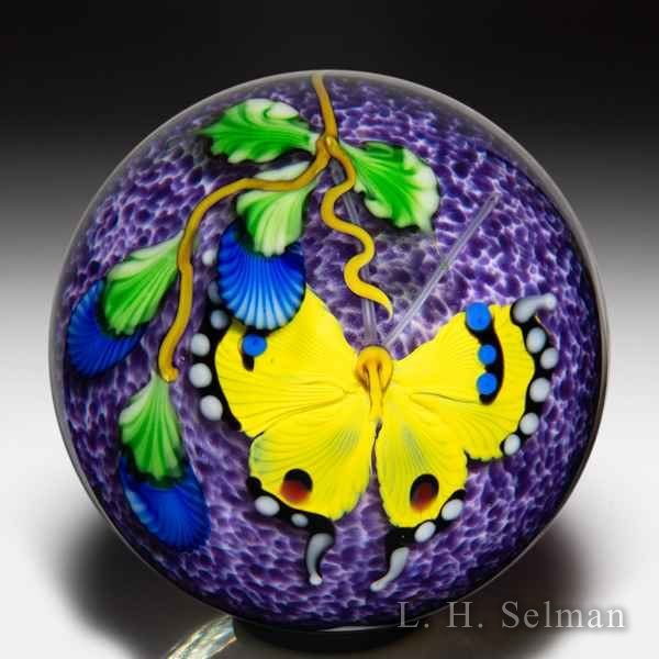 Mayauel Ward 2020 yellow butterfly and blue flowers compound paperweight. by Mayauel Ward