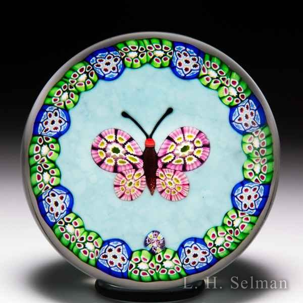 Paul Ysart millefiori butterfly and garland glass paperweight. by Paul Ysart