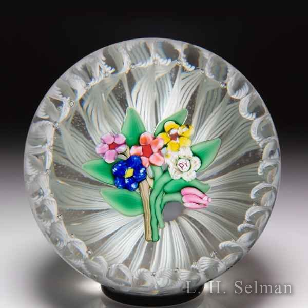 Paul Ysart six-flower bouquet in latticinio stave basket glass paperweight. by Paul Ysart