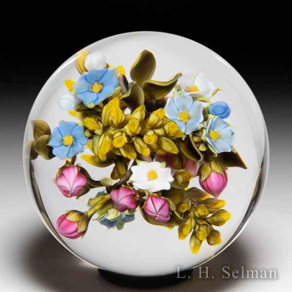 David Graeber 2020 all-over rose, yellow spray and forget-me-not bouquet orb. by David Graeber