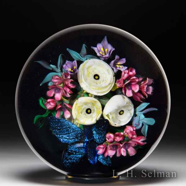 Melissa Ayotte 2020 ranunculus and morpho butterfly glass paperweight. by Melissa Ayotte