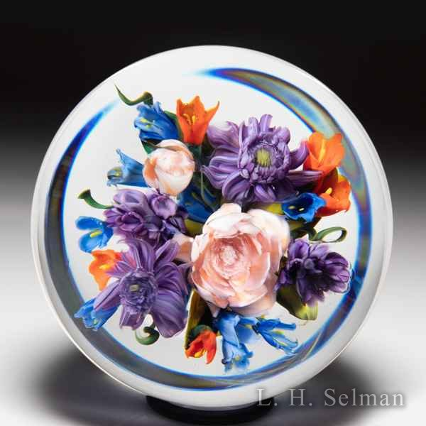Melissa Ayotte 2020 peach rose and purple dahlia bouquet paperweight. by Melissa Ayotte