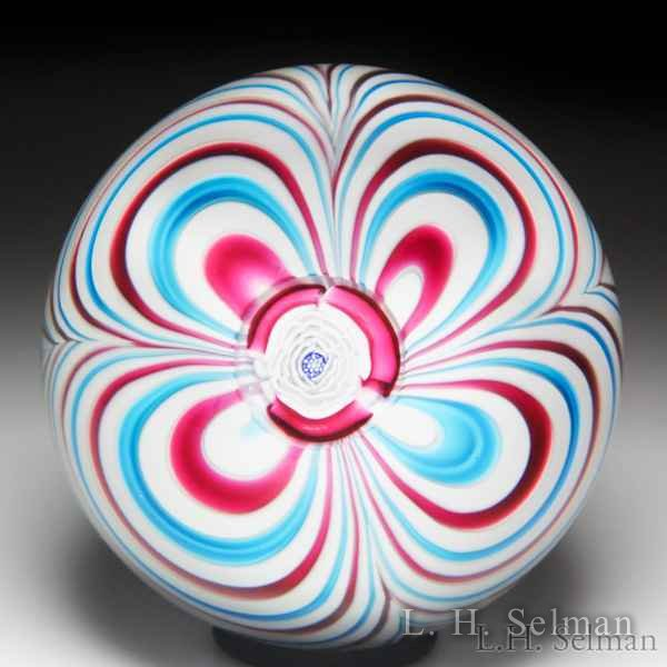 John Deacons 2017 marbrie and rose cane in matching pink and blue paperweight. by John Deacons