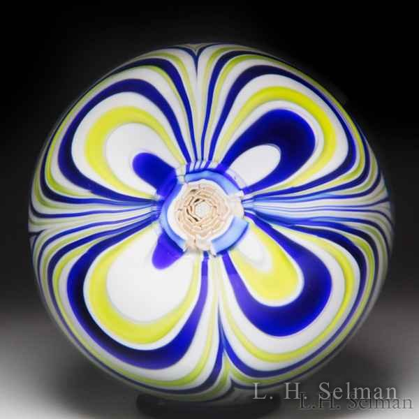 John Deacons 2017 marbrie and rose cane in matching yellow and blue paperweight. by John Deacons