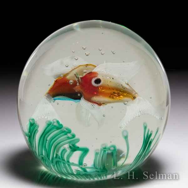 Murano (c.1950s) two fish aquarium magnum paperweight, possibly by Alfredo Barbini. by  Misc Modern