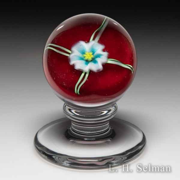 Charles Kaziun Junior blue and white lily miniature pedestal glass paperweight. by Charles Kaziun Junior