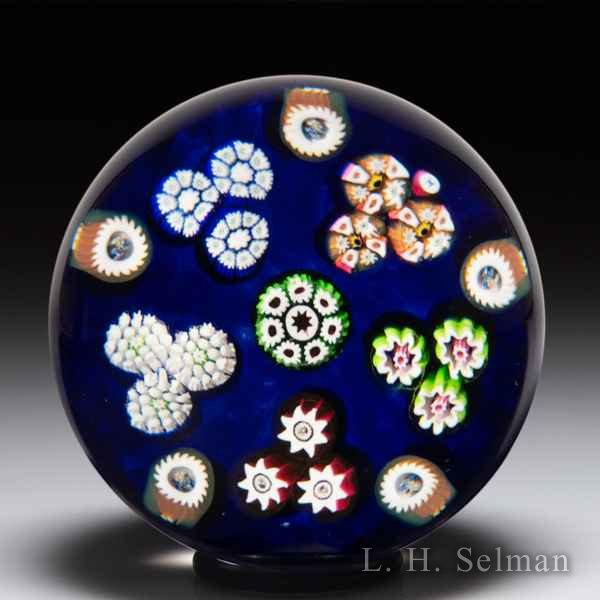 Paul Ysart Harland-era patterned millefiori glass paperweight. by Paul Ysart