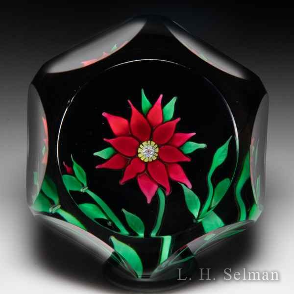 Saint Louis 1970 red clematis and bud faceted glass paperweight. by  Saint Louis