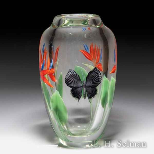 Orient & Flume bird of paradise and butterfly vase, by Scott Beyers. by Orient & Flume