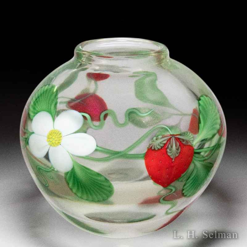Orient & Flume strawberries and blossoms vase, by Ed Alexander. by Orient & Flume